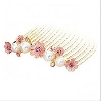 Min.order is $5 (mix order) Free Shipping 2014 Fashion Beads Petals Comb Inserted Comb Hair Ornaments (OH0158 )