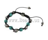 Free Shipping Fashion Shamballa Bracelet, wax cord & green turquoise beads & rhinestone zinc alloy skull beads, 8x13mm