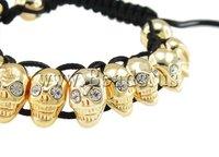 Free Shipping Fashion Shamballa Bracelet, wax cord with rhinestone zinc alloy skull beads, nickel, lead & cadmium free, 8x13mm