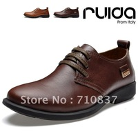 Fashion Men's lace-up genuine cow leather leisure shoes,casual business men office work shoe,Antiskid rubber sole,Brown,39-44