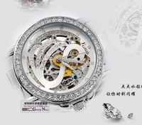 Luxury Swan Diamond double-sided hollow out lady watch - South Korea fashion mechanical watch_free shipping