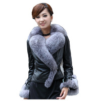 Hot sale Genuine leather jacket short design real leather clothing female with big fox fur collar sheepskin fur coat