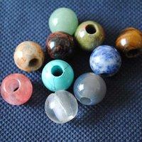 25 Pcs/Lot,Nature Semi Precious Stone,Fit For Bracelet Charming,Different Stone Mix,Big Hole Size: 16mm,Hole Size: 5mm