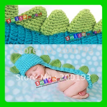 Hot Selling!!!  1piece  New Manual Weave Dinosaur hat Baby coveralls cap Dinosaur shape Photography props