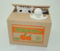 Free Shipping new Itazura Stealing Money Cat Penny Money Bank Coin Saving Box Perfect Gift Kids wholesale