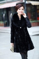 2013 New High Grade Ladies' mink fur coat ,Elegant Marten overcoat Fox fur collar slim Fur coat ,Free shipping FH021