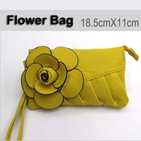 Ladies' Fashion Colorfull Camellia Flower  Wrist Bag HandBags Pu Leather Coin Mobile Phone Pouch Wallet Purse Free shipping