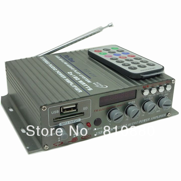 Yt-v11 2CH amplifier 12v card amplifier usb flash drive sd belt remote control radio car amplifier(China (Mainland))