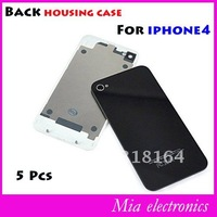 Free shipping Black Glass Battery Cover Back Housing glass cover for Iphone 4G 5 pcs