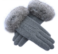2015 Hot-selling autumn and winter women's high quality  wool gloves  rabbit fur  thermal  box woman  gloves