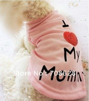 free shipping,10pc/lot I Love My Mommy cotton dog clothes,dogs vest for summer,pet clothes,pet apparel,Pink White,S/M/L/XL/XXL