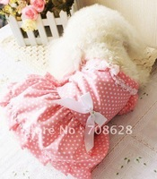 Free Shipping 2013 New Wholesale Pet Dog Spring&amp;Summer Pink Cotton Skirt Princess Dots Dress Party Wedding Pet Clothing XS-XL