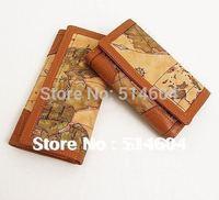 new women clutch Vintage World Map Style Womens Bifold Leather Purse Clutch Long Wallet New