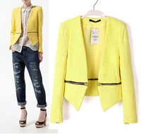 2013 Autumn fashion women's knitted long sleeve tops separable zipper bottom slim casual short coat blazers PS0001
