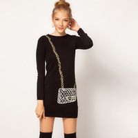 2013 Autumn Fancy Chain Messenger Bag Printing Knitting Dress,Top Brand Design Wool Dress Long-Sleeved
