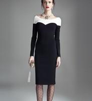2014 new arrival ol evidenced elegant black-and-white patchwork slim hip slim plus size knitted fashion vintage women dresses