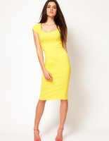 Fashion formal vintage elegant patchwork square collar slim tight slim hip medium skirt short-sleeve dress bright yellow