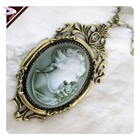 Valentine Gift Necklace Fashion 2013 For Women Retro Belle Cameo Pendant Necklace  AN085