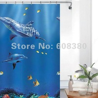 Free Shipping Waterproof mildewproof  Eco-Friendly PEVA Bathroom Shower Curtain 1.8  X 1.8 M With Hooks--Dolphin