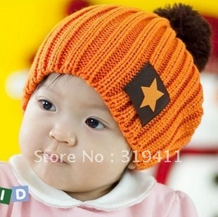 Baby hat candy color fashion star labeling child knitted hat baby cap