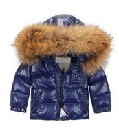 2013 children's clothing down coat baby child male female boy girl parkas short design large fur collar outerwear jacket