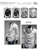HOT Sell Mens Slim Sexy  JACKET hoodie rabbit fur collar diagonal zipper white