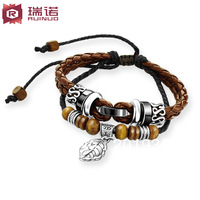 Free shipping Fashion punk rope bracelet,316L stainess steel,leaf,Double ropes bracelet,vintage ancient female&male Lovers gift