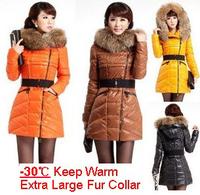 Brand winter duck down coat women' s extra large raccoon fur collar hooded down jacket plus size warm outerwear coat T177