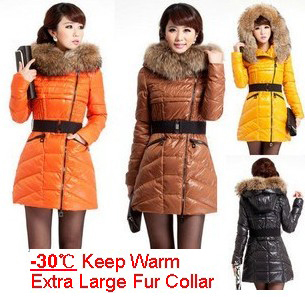 FREE SHIPPING BRAND 2014 winter extra thick large fur collar down coat white duck women's medium-long down jacket outerwear T177
