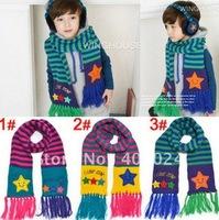 Smiling Star Striped thermal children Scarves kids Muffler Warm Scarf Boy Girl neckerchief 3 colors 5-10 years  790024J