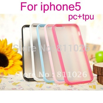 New for iphone5 PC+ TPU soft Case for iphone 5,Gel TPU Silicone Case Style for iphone5,high quality,1pcs/Lot free shipping