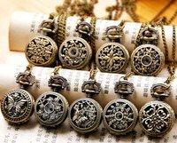 Steam Punk M&T New Arrival Assorted Style Vintage filigree round Quartz  Pocket Watch Pendant Necklace Wholesale