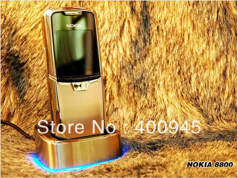 Original&Unlocked Nokia 8800 gold cell phone russian language and russian/English keyboard Free Shipping(China (Mainland))