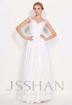 11P175 Off Shoulder Beading A-Line Full Length Chiffon Prom Elegant Gorgeous Unique Brilliant Evening Dress White Prom Dress