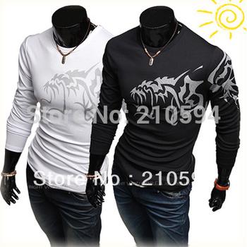 New Fashion Men's Slim T Shirt Long Sleeve Wolf Image T-Shirt