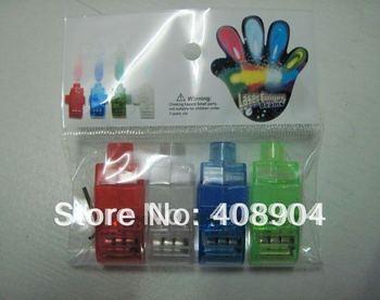 2000 pcs/lot (500 packs) Colorful Laser  Finger Lamp Led Finger Lights Halloween Light Cristmas Gift (OPP bag)