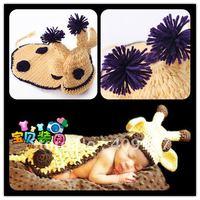ZZ Baby baby knitted yarn sika deer baby style hat handmade set child