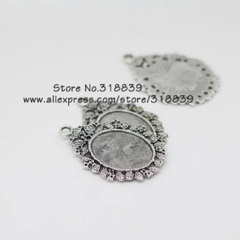 10pcs/lot Vintage Silver Metal Alloy Rose Cameo 18*25mm Oval Cabochon Settings Jewelry Pendant Bezel Blanks 6532