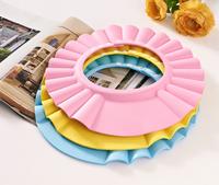 3 colors Hot selling baby child shampoo shower hat hair wash Adjustable bath cap