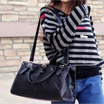 Classic black women plaid PU tote&messenger bag