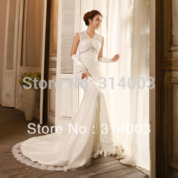 Yarn wedding dress high quality formal dress lace royal vintage fish tail short trailing 9057