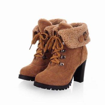2014 Модный Женщины Ankle Boots High Heels Кружево up Snow Boots Platform Кожа keep ...