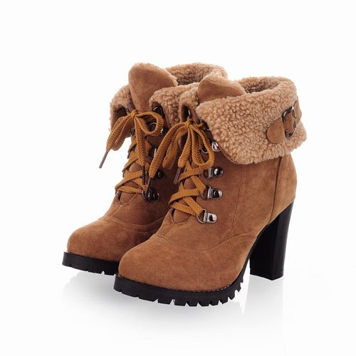 2014 Fashion Women Ankle Boots High Heels Lace up Snow Boots Platform Pumps keep warm women boots drop shipping(China (Mainland))