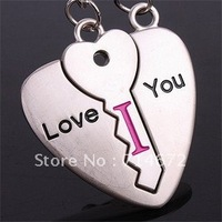 "Free shipping (40PR/LOT )Wholesale    "" Love you"" Lover Couple Keyring Heart Lock Alloy Lover Gift Alloy Lock Couples Keychains"
