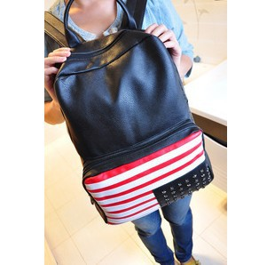 Dropshipping leather women american flag double-shoulder backpack bag lady school bag brand designer travel bag free shipping(China (Mainland))