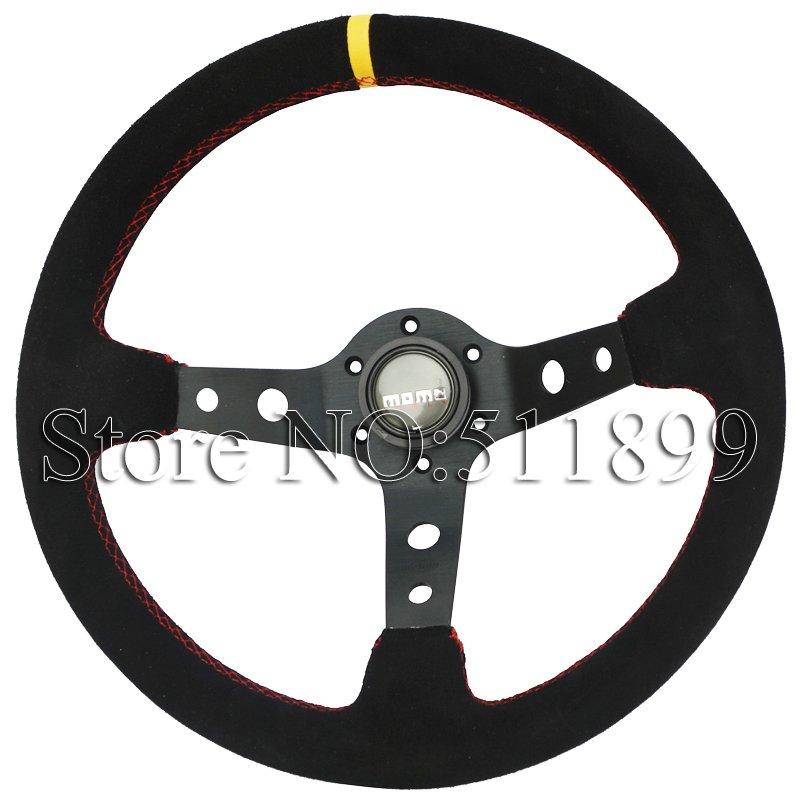Hot: MOMO Steering Wheel Suede Steering Wheel 350mm Racing Car Steering Wheel(China (Mainland))