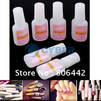 6 Pcs False Nail Art Glue Tips Glitter Acrylic Decoration Rhinestones with Brush Free Shipping