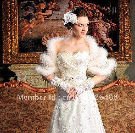 Real Fur Ostrich Feather white ivory Fur wedding bridal Coat Jacket wraps Shawl Cape Stole Bolero Throw Shrug soft Warm(China (Mainland))