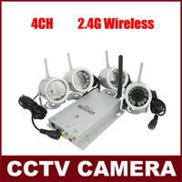 4PCS 2.4GHz Wireless Night vision IR Camera +  4CH Wireless Receiver  CCTV Camera Kit  Surveillance Security Camera System