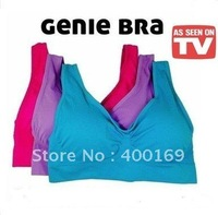 Free Shipping Colored Genie Bra Seamless Bra with Removable Pads with OPP Bag 30pcs/lot(one set=3pcs)
